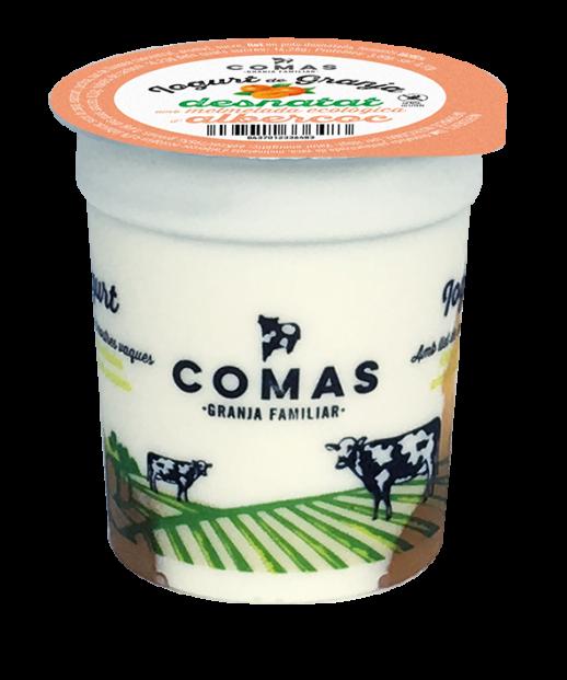 fetaosona - Granja Comas - iogurt desnatat d'albercoc amb melmelada ecològica